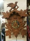 Antique WOODEN CUCKOO CLOCK Hanging German Wall Clock FOR RESTORATION with Birds