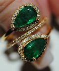 ESTATE 22 KT Yellow GOLD DOUBLE PEAR SHAPED NATURAL EMERALDS DIAMOND RING !