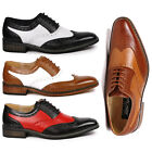 Metrocharm MC118 Mens Two Tone Perforated Wing Tip Lace Up Oxford Dress Shoes
