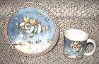 Debbie Mumm 'Snow Angel Village' Christmas Mug & Plate by Sakura EUC