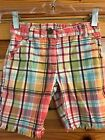 GYMBOREE Girls JUNGLE GEM Plaid Shorts with Frayed Cuffs Size 4