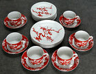 23 PC FITZ & FLOYD PRUNIER DE CHINE, RED & WHITE, SALAD & BREAD PLATES, CUPS
