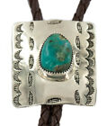 280Tag Feather Navajo Leather Nickel Natural Turquoise Native American Bolo Tie