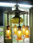 Museum-Quality QUEZAL Art Nouveau 7-Shade Ceiling Lamp c. 1904 antique glass