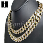 Iced Out 14k Gold PT 15mm 85 24 Miami Cuban Choker Chain Necklace Bracelet