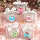 24 Personalized Glass Votive Candles w Box Birthday Baby Party Wedding Favors