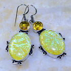 FANCY DICHROIC GLASS+CITRINE EARRINGS 2 1/4