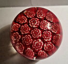 SMALL VINTAGE MILLEFIORI STYLE  ITALIAN ART GLASS PAPERWEIGHT RED