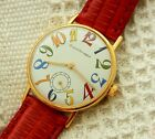 VINTAGE GIRARD PERREGAUX EXAGERATED MULTICOLOR NUMBERS 33.8MM GOLD PLATED CASE
