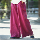 New Vintage Womens Summer Casual Loose Cotton Linen Wide Leg Pants Trousers