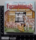 RUBBER STAMPEDE USED RUBBER STAMPS SET 10 FOAM MOUNTED FARM ANIMALS COW HORSE