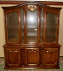 DAVIS OAK CHINA CABINET French Style Lighted Hutch Brass Wire Mesh Glass Doors