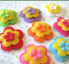 US SELLER 40pc x 125 Padded 3 Layer Felt Spring Flower Appliques Bows ST483H