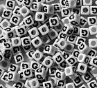 Letter G 100pc 7mm Alphabet Beads White with Glossy Black Letters