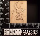 HERO ARTS USED RUBBER STAMPS E333 TEDDY BEAR SWINGING HANGING MOON STARS BABY