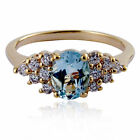 Gold Plated Brass 16 Ct Oval Genuine Sky Blue Topaz Engagement Wedding Ring