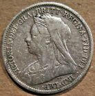 GREAT BRITAIN 1899 QUEEN VICTORIA 92.5% SILVER SIX PENCE COIN (KM#779)