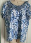 Ruby Red Women Pull Over Top Size Xl Blue  White Ruffled Neck Cotton Spandex