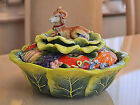 FITZ AND FLOYD RAM FIGURINE ON CABBAGE BOWL, COUNTRY CHIC COLLECTION