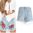 Vintage Women Floral Printed High Waisted Stonewash Denim Shorts Jeans Pant New