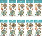 HUGE LOT Jolees MAP MEDALLIONS Dimensional Stickers 10 Packs GLOBE TRAVEL