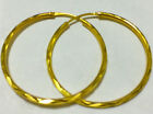 NEW! EXCELLENT 22K THAI BAHT SOLID GOLD HOOP EARRINGS SIZE 1 INCH.