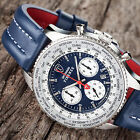 DETOMASO FIRENZE XXL Mens Watch Chronograph Blue Stainless Steel Leather New