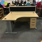 EX DISPLAY Maple Qudos 1600mm Radial Office Desk with Slimline Mobile Pedestal