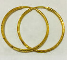 EXCELLENT 22K THAI BAHT SOLID GOLD HOOP EARRINGS SIZE 1 INCH.!!!
