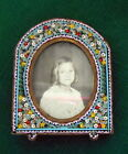 Antique Victorian Italian Floral Micro Mosaic Detailed Floral Picture Frame