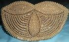 JAPAN Vintage 1940s Purse Hand Bag Beige Beads Pearls Silver Beads Handmade