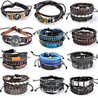 Punk Men Woman Handmade Leather Bracelets Multilayer Braided Wristband Bangle