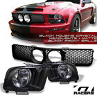 BLK HEAD LIGHTS DY+MATTE MESH BUMPER GRILL GRILLE+FOG HOLE 05-09 FORD MUSTANG GT