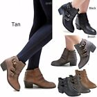 New Women Eury Black Tan Brown Western Ankle Booties Riding Low Heel Boots 5 10
