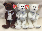 Set of 3 Hershey's Kiss Exclusive TY beanie babies toys: Kisses Hugsy Cocoa Bean