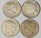 Lot of 4 Peace Silver Dollars 1922 D 1923 D 1923 S 1934 D Circulated jl 1