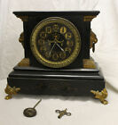Antique Ansonia Mantel Clock Lion Face  Claws Working Condition