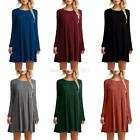 USA Women Casual Round Neck Plain Long Sleeve Tunic T Shirt Loose Dress Tops