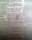 TITANIC SINKING FAME The Unsinkable Molly Brown DEATH 1st Report 1932 Newspaper