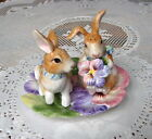 fITZ & FLOYD EASTER BUNNY RABBIT HALCYON PANSY SALT & PEPPER SHAKERS UNDERPLATE