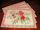 April Cornell Merry Antique Place Mats Placemats Set / 4 Holiday Botanical Print