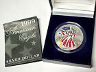 BU 1999 Silver American Eagle 999 Silver Dollar In Full Color With Box and COA