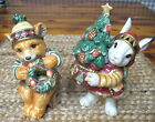 FITZ & FLOYD CHRISTMAS LODGE SALT & PEPPER SHAKERS BEAR & BUNNY RABBIT MIB
