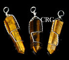 Silver Plated Wire Wrapped Double Term Tigers Eye Point Pendant WW15DG
