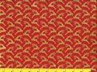 Metallic Gold Reindeer on Red Christmas Quilting Fabric by Yard 3038