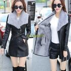 Womens Pu Leather Shearing Lambs Wool Fur Collar Jacekt Winter Trench Coat#Hot