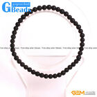Handmade Black Agate Matte Onyx Gemstone Beaded Stretchy Bracelet Free Shipping