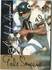 GALE SAYERS 1997 SP AUTHENTIC MARK OF A LEGEND ON CARD AUTOGRAPH AUTO BLACK INK