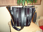 MICHAEL KORS BROOKLYN APPLIQUE LG BLACK LEATHER BAG CROSSBODY FEEDBAG PURSE NWT