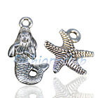 10 100x Antique Silver Mermaid Starfish Shaped Pendants Charms Necklace Findings